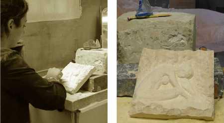 Jennifer et sa première sculpture en taille directe (bas-relief)