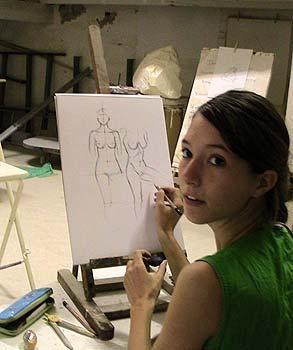 Aniko, hongroise,fait un stage de dessin