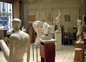 L'atelier de sculpture à Paris