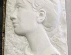 Le profil, sculpté en taille directe En cours de réalisation