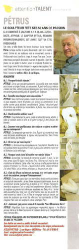 TV France publie un portrait-interview du sculpteur