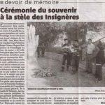 Article sur la cérémonie devant le Mémorial du Tanneron