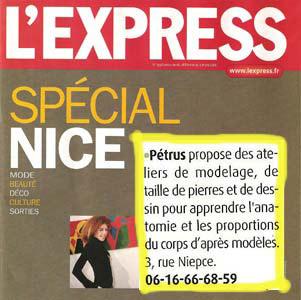 L'Express cite l'école de sculpture de Pétrus