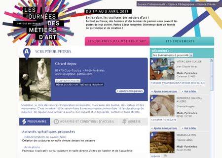 Les Journées Nationales des Métiers d'Art Du 1er au 3 avril 2011