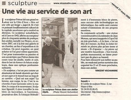 """""""Une vie au service de son art"""" Nice Matin - 21 mars 2009"""