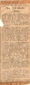 Article sur le vol du livre d'or de Pétrus.