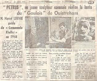 Ouest France rédige un article sur la création du buste de M. Marcel Lefèvre.