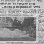 Le Monument du Souvenir, sculpté en taille directe par Pétrus