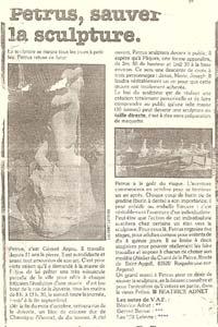 Un article sur le Sculpteur Pétrus