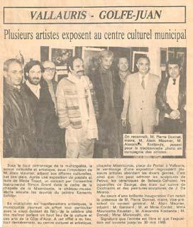 Nice Matin, 18 mai 1985 : Plusieurs artistes exposent au centre culturel municipal (Vallauris)