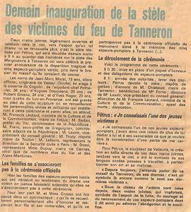 Article sur le Mémorial du Tanneron, la veille de la cérémonie officielle