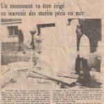 Article sur la création de la stèle en hommage au marins péris en mer