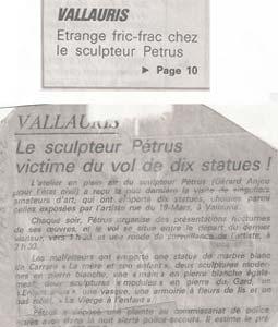 Article sur le cambriolage de l'atelier : dix statues sont volées