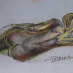 Dessin de nu au pastel Femme de dos allongée, 1996