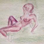 Nu - Femme de trois-quart - Pastel