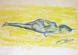 Nu - Femme allongée - Pastel, 1996