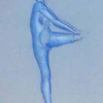Dessin artistique au pastel bleu
