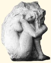 """1962 - """"L'Oeuf"""", taille directe Cette sculpture a été exposée à la Galerie Borel à Deauville en 1962 et à la Galerie Bedel, à Caen, en 1967"""