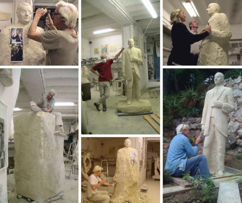 La création de la statue monumentale en pierre