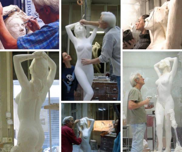 La création de la statue en bronze