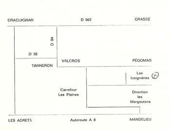 Plan pour se rendre au Mémorial des Sapeurs Pompiers du Tanneron