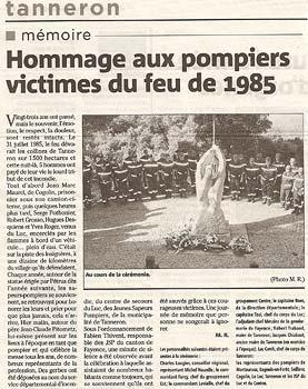 L'article de Var Matin sur la cérémonie du 31 juillet 2008