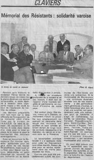 Article annoncant la prochaine inauguration du Mémorial.