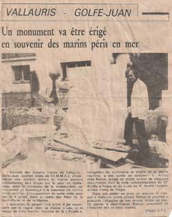 Article de Nice Matin  En photo : Petrus et M. Jean-Claude Buchet, président de l'Amicale des anciens marins.
