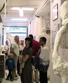 Visite de l'atelier pendant une exposition