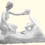 Cette sculpture monumentale a été créée en taille directe sur pierre de Chauvigny Marbrier.