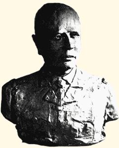Le buste du Général Paul Bourget en uniforme militaire