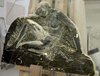 Bas-Relief en marbre noir
